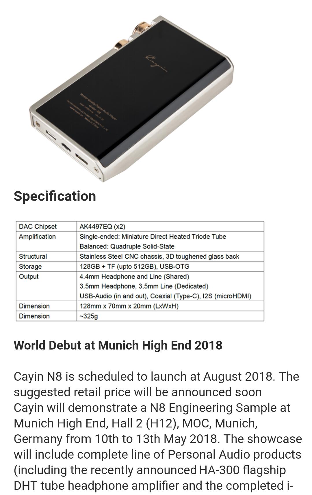 Cayin N8 TOTL DAP: KORG Nutube, 4 4mm Balanced, Dual AK4497, Dual