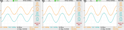 Combined - ES100 into 16 ohms - 1k waveforms at 0 dB, +1.5 dB, +2 dB.png