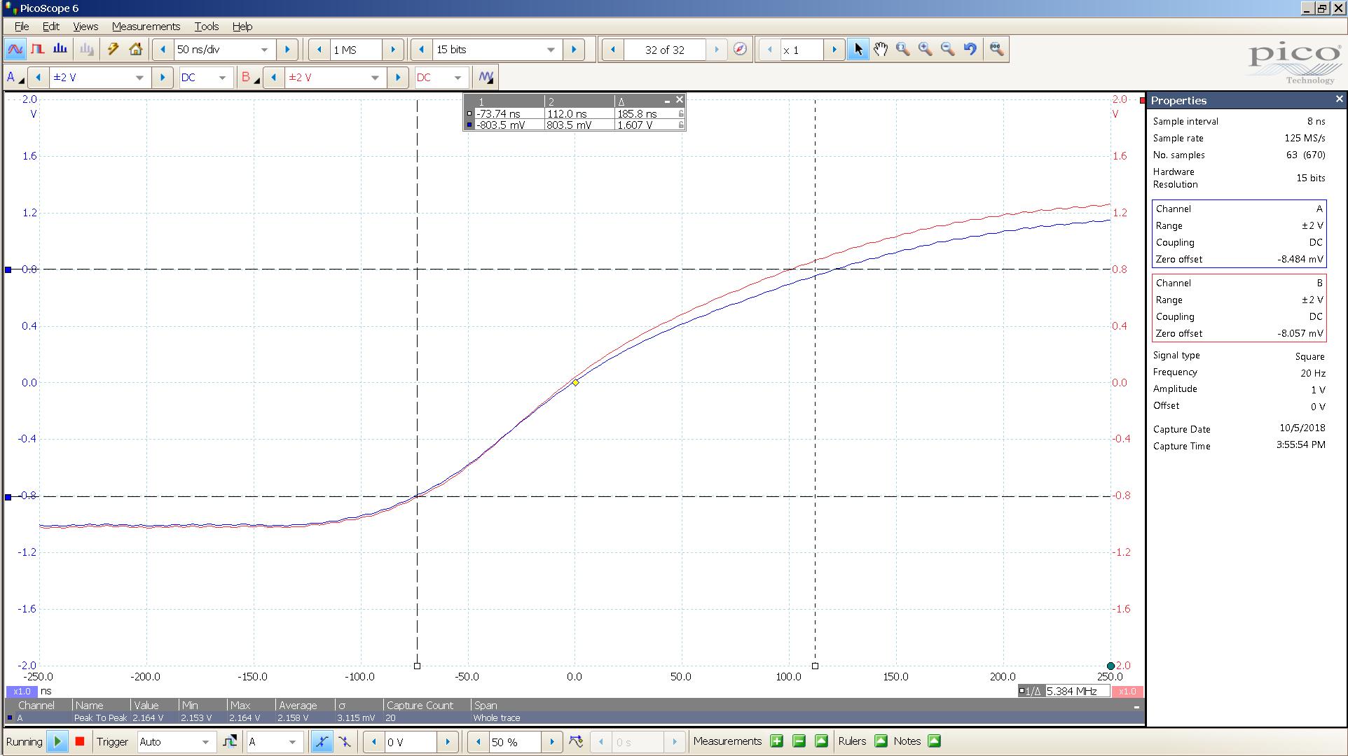 20181005 SigGen spark 20 Hz square 2000mVpp 50nS div 10MHz filter 300R -BW calc.png