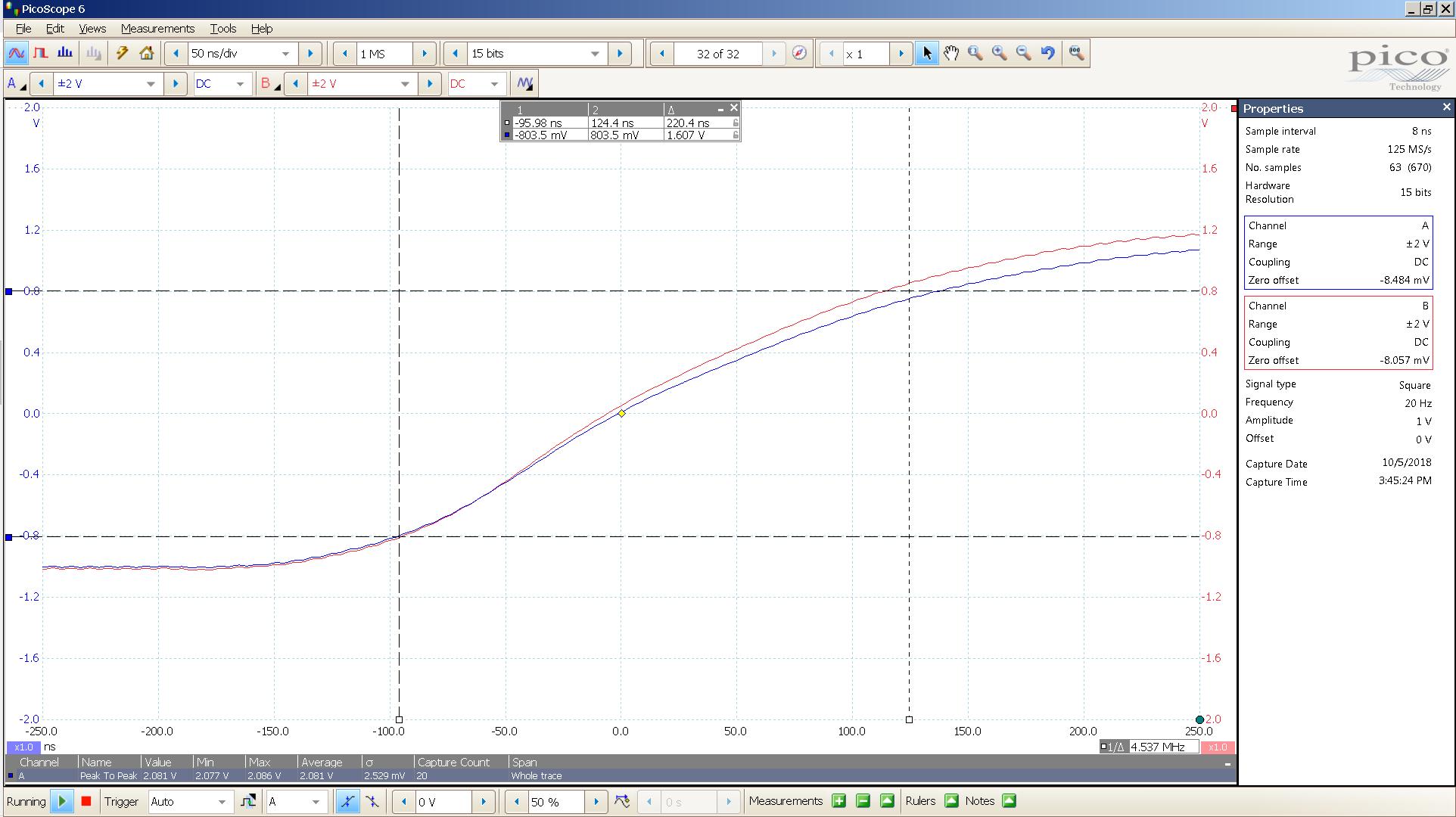 20181005 SigGen spark 20 Hz square 2000mVpp 50nS div 20MHz filter 30R - BW calc.png