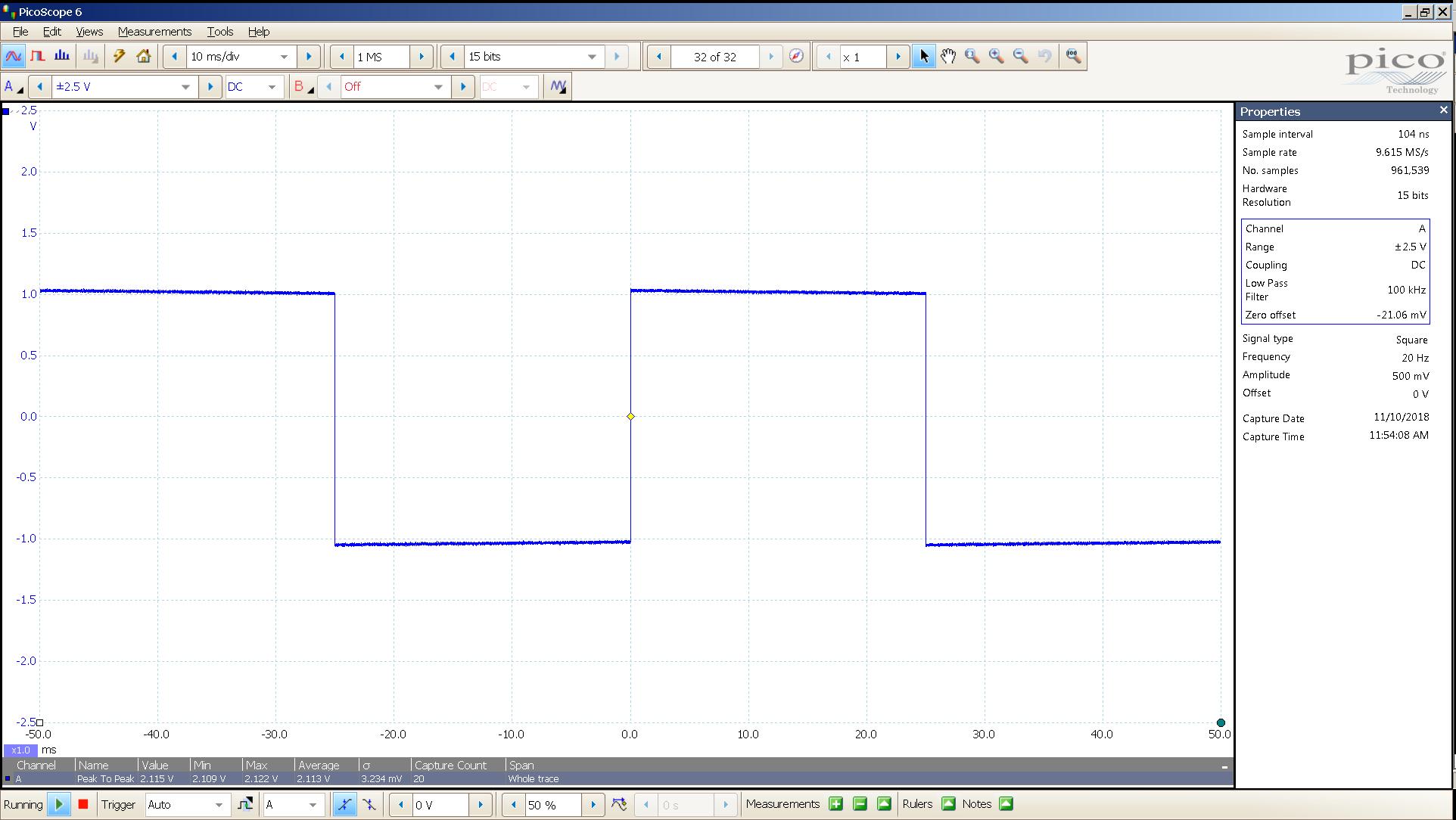 20181110 SigGen LiqPlat 20 Hz square 2000mVpp 10mS div 100KHz filter 300R.png