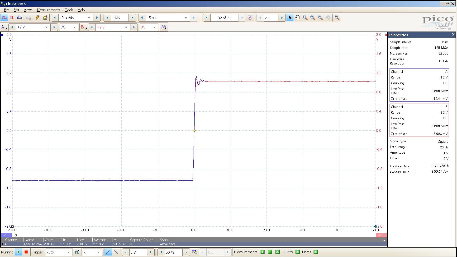 20181110 SigGen LiqPlat 20 Hz square 2000mVpp 10uS div 5MHz filter 30R.png