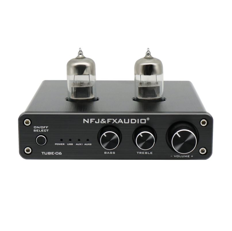 Silver FX AUDIO Tube Preamp TUBE-06 HiFi Home Audio Stereo HiFi 6N3 Vacuum Tube Preamplifier for Home Theater Audio Player System CM6653 with Sound Card with Bass Treble Control RCA//USB//AUX Input