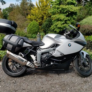 BMW K1300S with OEM Panniers and Givi top box