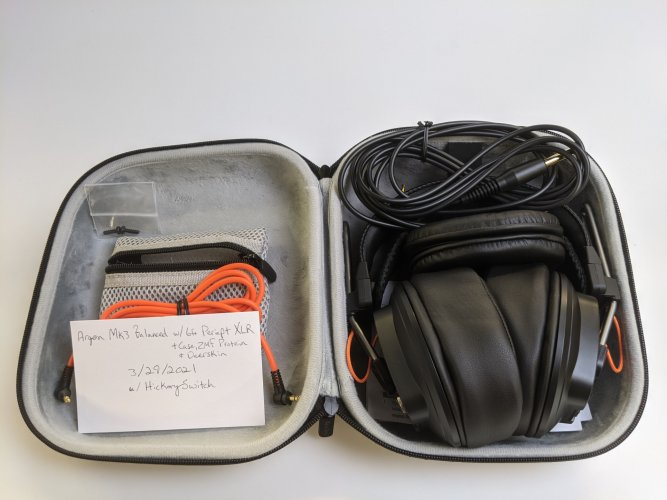 T50RP Argon Mk3 Balanced w/ 5' Periapt XLR Cable + Custom Case, ZMF Protein Pads & Deerskin Strap