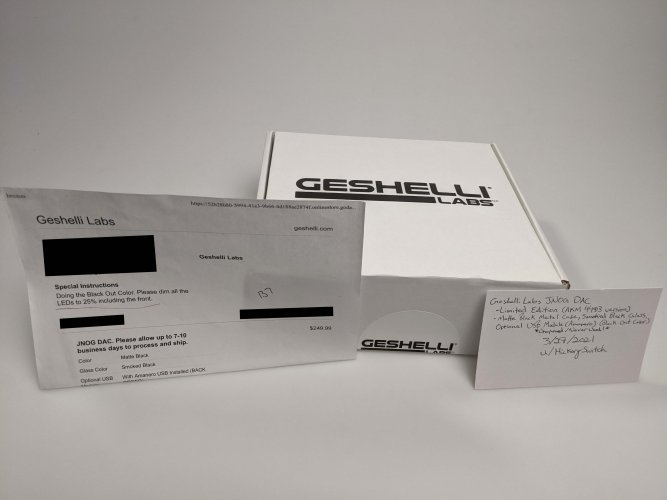Geshelli Labs JNOG Limited Edition (AKM 4493) - Amanero USB Module + Black Out Color + 25% Dim on All LEDs - Unopened/ Never Used!