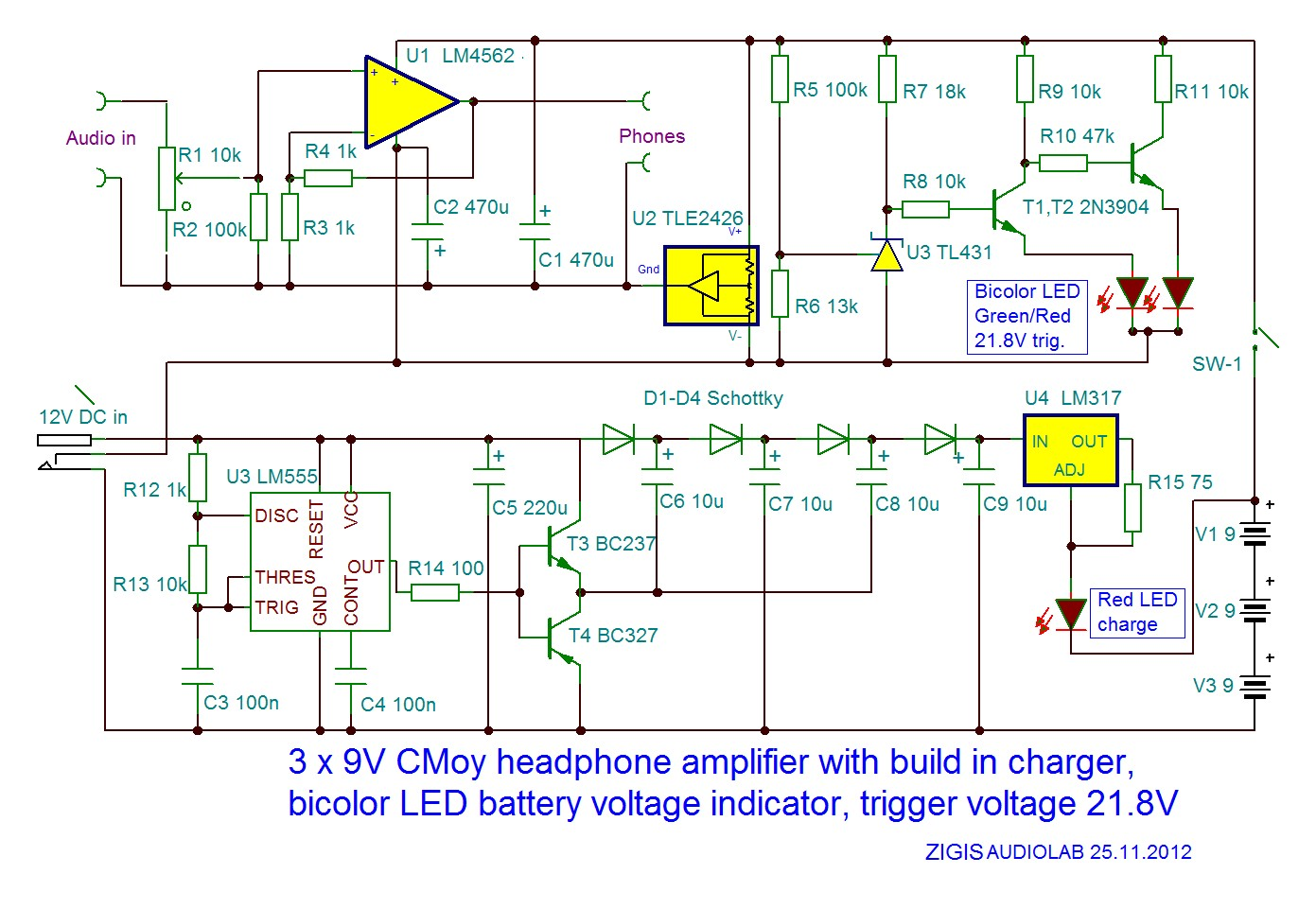My New 3x9v Cmoy Headphone Reviews And Discussion Battery Voltage Indicator 3x9vcmoybattindschematic