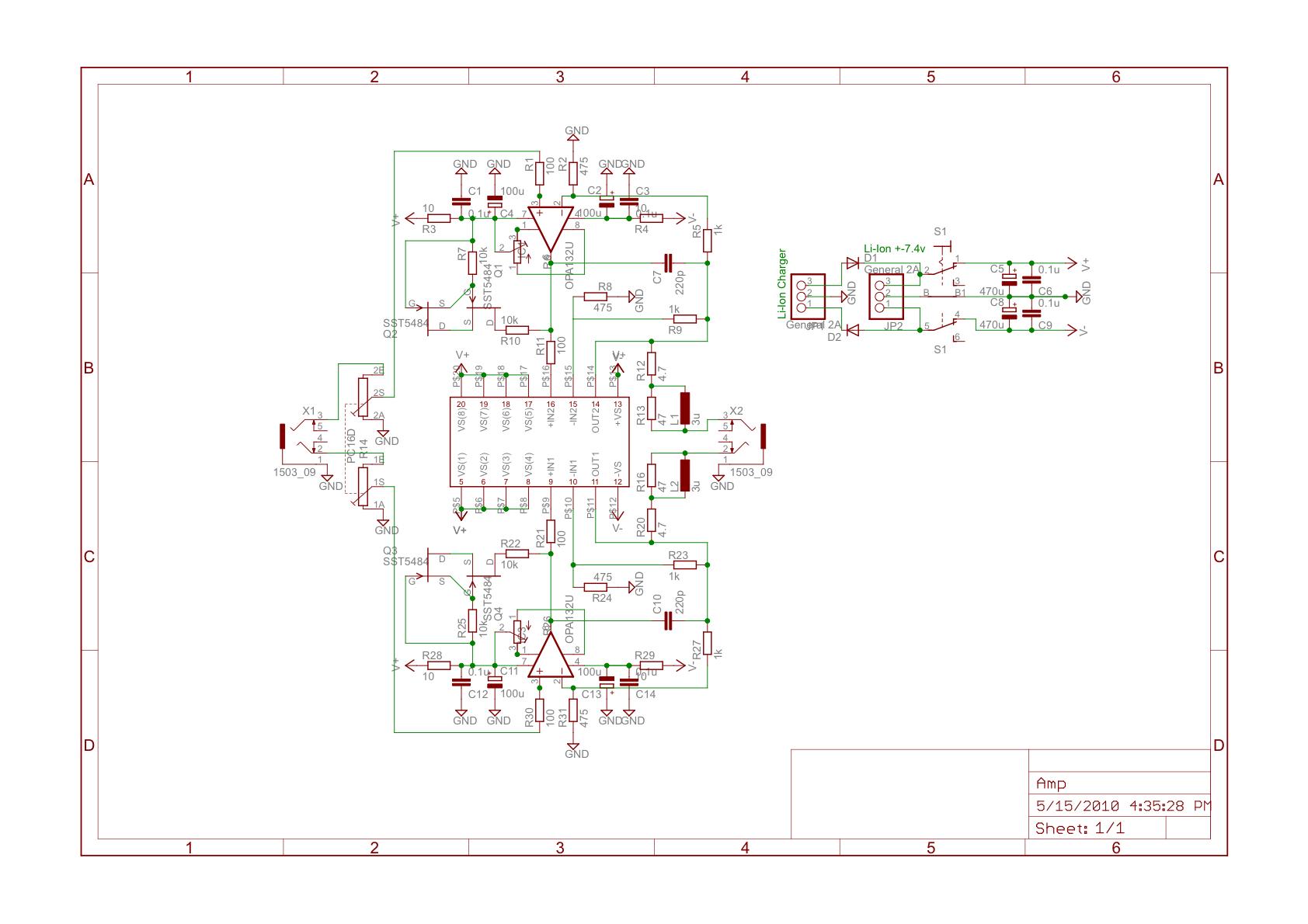 New Portable Headphone Amplifier Opa132 Ad815 Development Circuit Diagram Amp