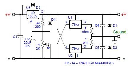Virtual Ground Regulated And Rail Splitter Circuits
