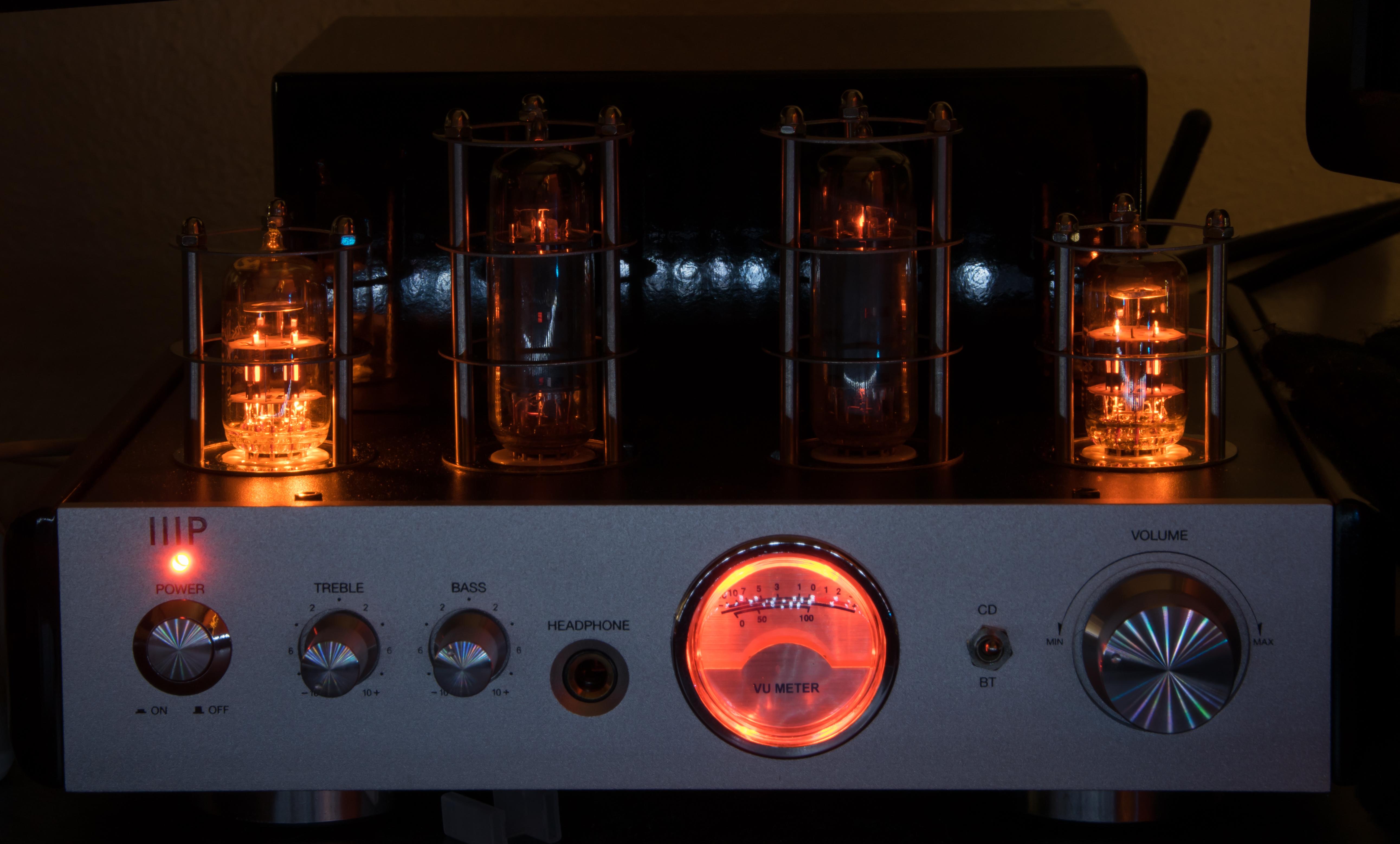 Monoprice 113194 25 Watt Ab Power Amplifier Stereo Hybrid Tube Amp 50 Watts Audio Dsc 2250