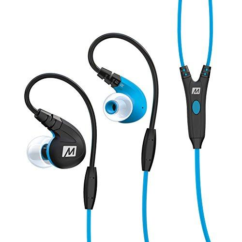 MEE audio M7P Secure-Fit Sports In-Ear Headphones with Mic, Remote, and Universal Volume Control(Blue)