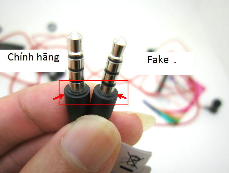 Small ring just before the 3.5mm at the end of the plug. Another thing to  check. AFAIK the one on the left is real. It seems there are some fakes out  there 2b5a91833