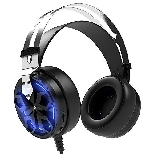 APIE Gaming Headset Comfortable 3.5mm Stereo Over-ear Headphone USB Wired PC Gaming Headset with Mic Vibration Function Volume Control Noise Canceling