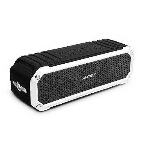 Archeer A226 Portable Bluetooth Speakers Outdoor Sport Shower Wireless Speaker with Light, Clip, Microphone, Silver