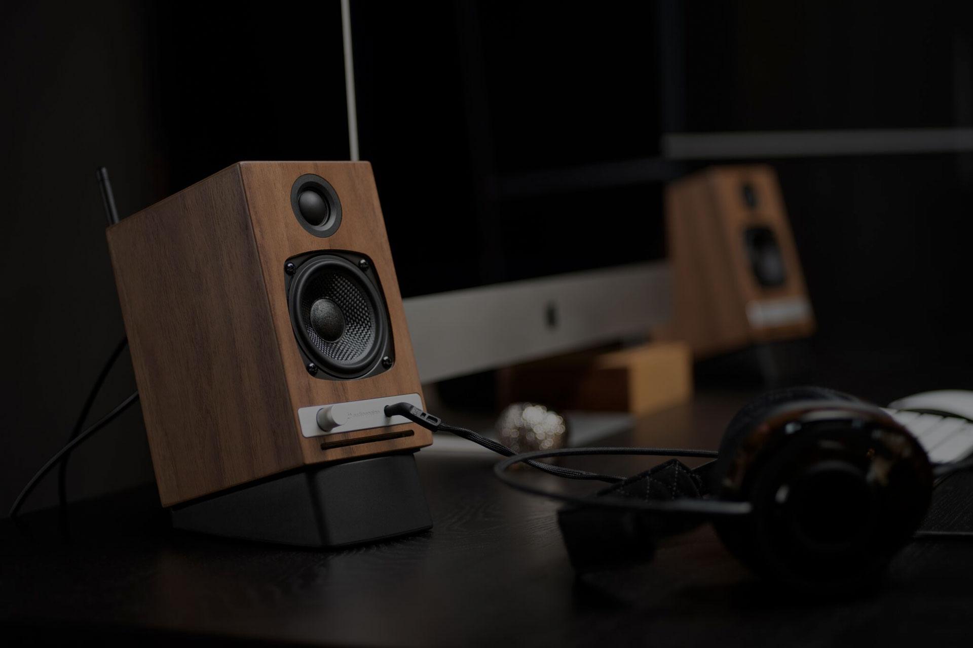 Audioengine Hd3 Wireless Speakers Headphone Reviews And Discussion Hd6 Cherry Website Hero Walnut Desktop Black Overlay 32 Percent