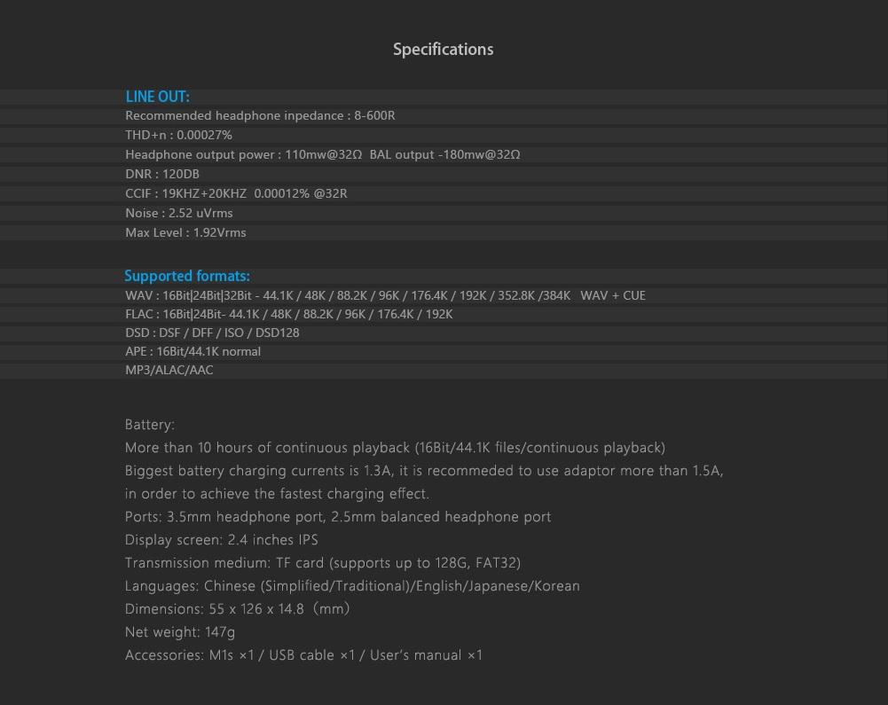 "Aune M1s HIFI Music Player 32BIT 384K DSD128 Balanced Portable MP3 2.4/"" Screen"