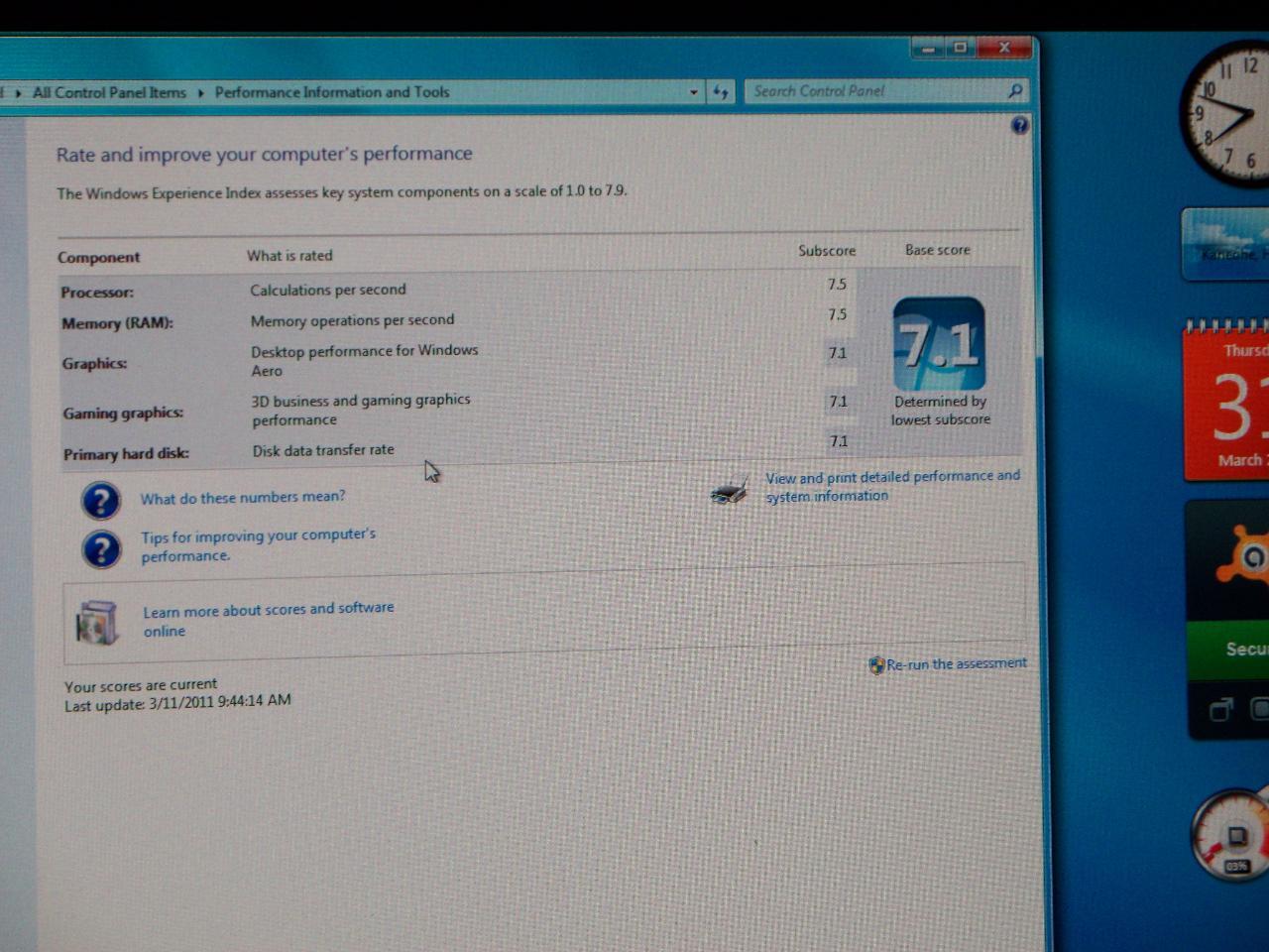 Windows 7 Index Score