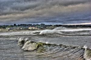 Waves hitting Narragansett Town Beach in RI as a tropical storm approaches.  Single exposure HDR.