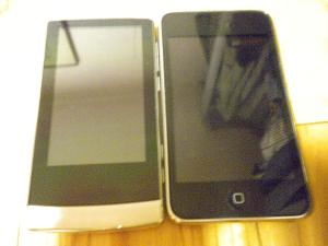 J3 next to an iPod touch