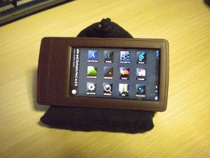 "J3's ""blocky"" interface in a Ringke StoneBrown case."