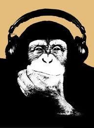 monkey wearing headphones