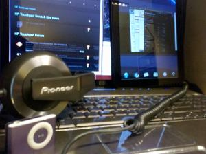 My HP stuff and headphones