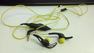 Earbuds, 3.5mm connection, and sound control.   See my review for my thoughts.
