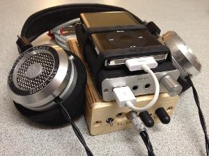 Portable set-up for travel. iPod or iPhone to Fostex HP-P1 to Triad Audio L3. Headphones are the...