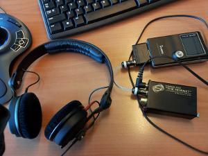 Standard Sennheiser HD25 1 II with RSA Hornet and iAudio X5L