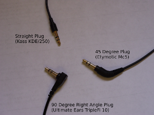 Plug Comparison, straight, right angle, and 45 degree angle.