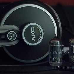 AKG K272 HD + RCA Black Plate D Getter (branded Admiral), small part of a Valvo tube showing on...