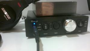 Audio-gd NFB-12 with dimmed LED. I stuffed the corner of a white packing peanut into the hole of...