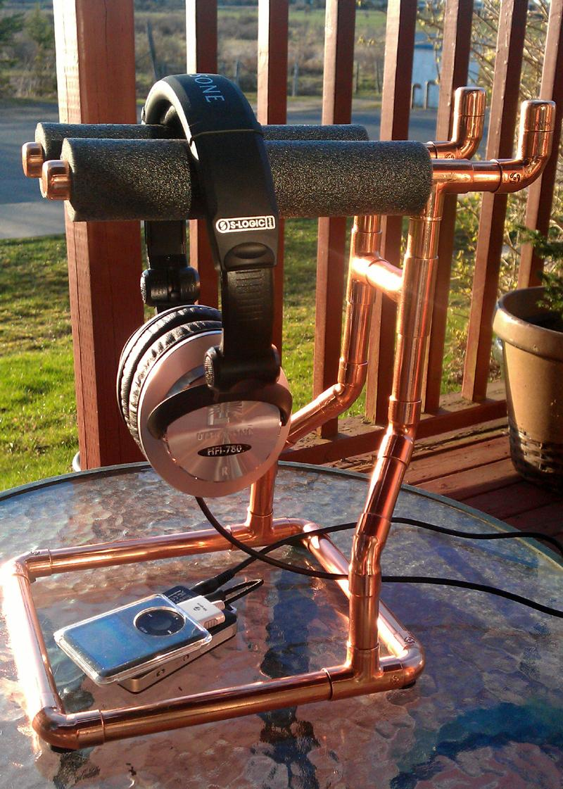 Copper Headphone Stand all polished up with setting sunlight.<br /> HFI-780's, Fiio E11...