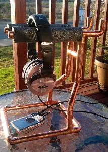 Copper Headphone Stand all polished up with setting sunlight. HFI-780's, Fiio E11 & iPod Nano...