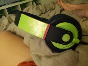 Custom Sony MDR-XB500 - green spraypaint, pink oil marker, gold intereference paint, matte topcoat.