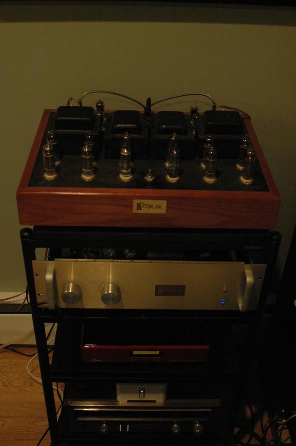 From top to bottom, Eico HF-30 amps, Deja Vu audio 6SN7 preamp, Synthesis Matrix Tube DAC, Sonos