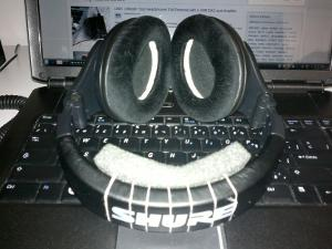 My Shure SRh440 with SRH940's velour pads. This shot shows the foam inserts that deepens the...