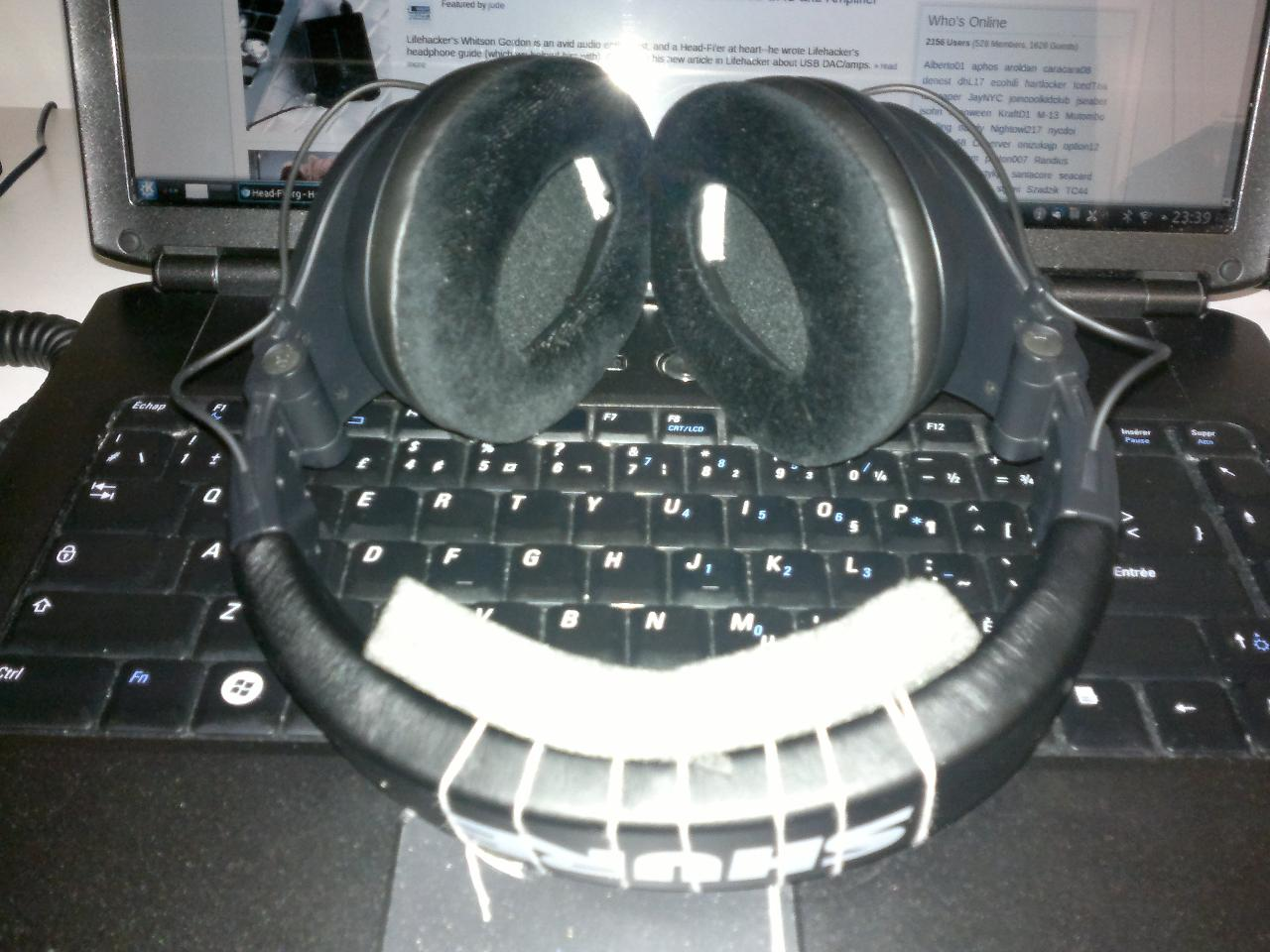 My pair of Shure SRH440 with the SRH940's velour pads. This picture shows the foam insert...
