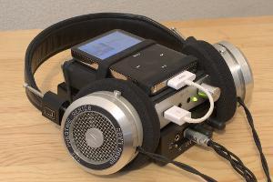 Transportable rig: iPod, Fostex HP-P1, Triad Audio L3, Symphones Magnums