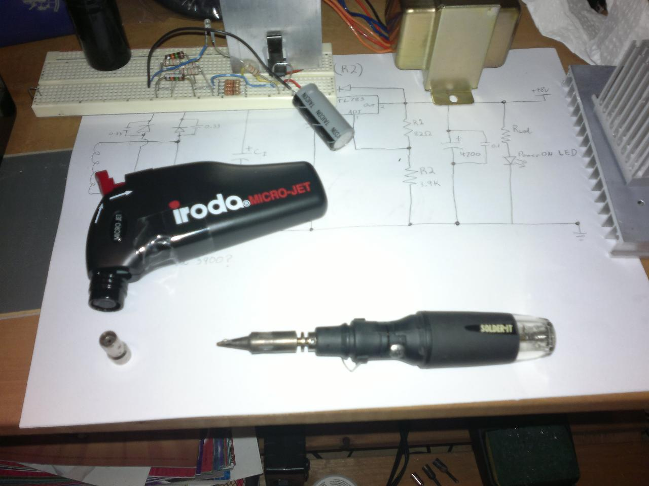 My butane powered tools. A piezoelectric started torch, and a soldering iron.