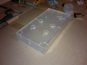 Enclosure built from clear plastic, rear view. The top, front and back panels were frosted using...