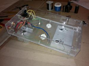 AC side of the power supply is wired. This build doesn't use all the transformer's tabs, but I...