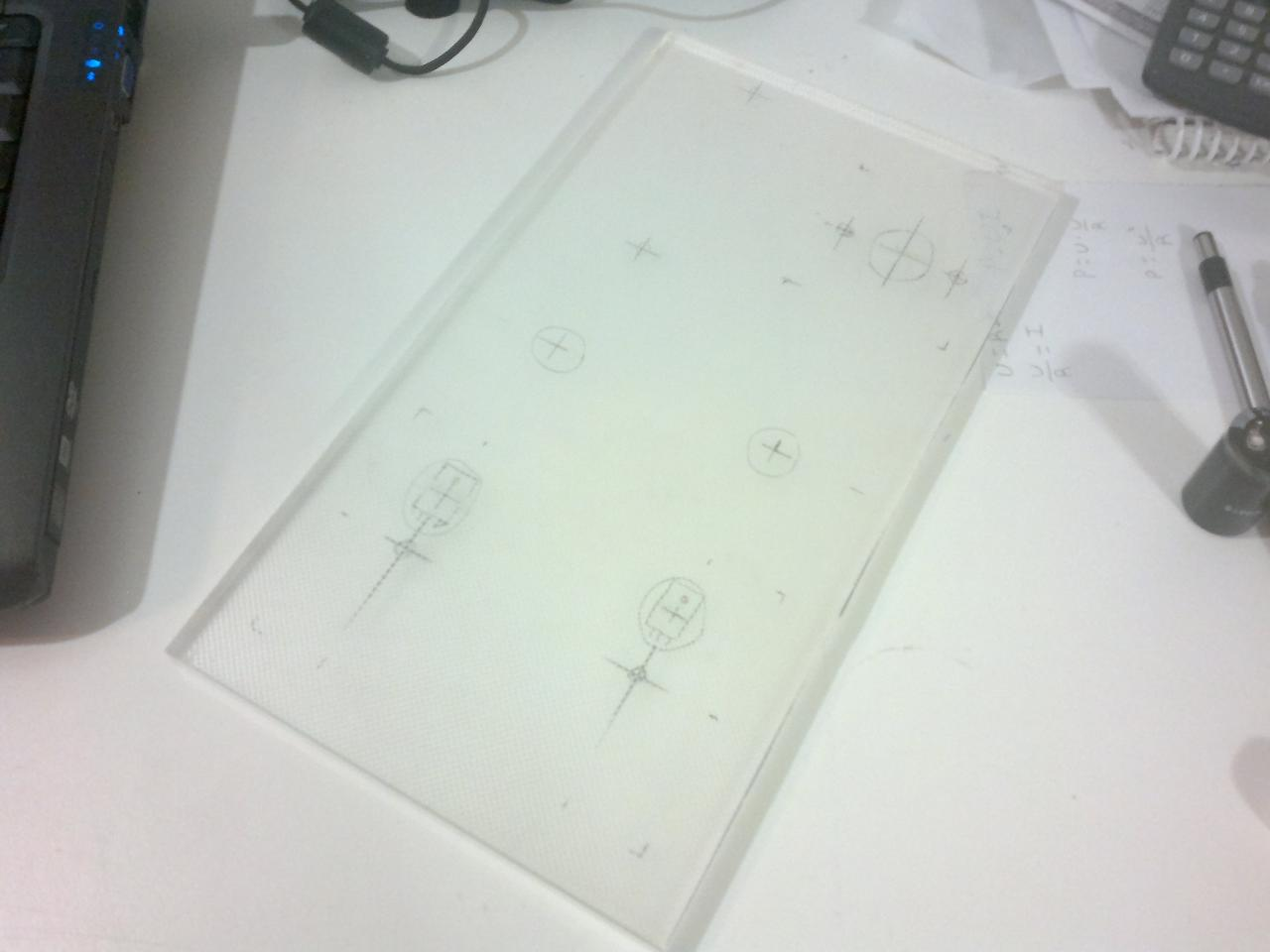 This piece of clear plastic was salvaged from an LCD monitor. It's 8mm thick. I cut it...