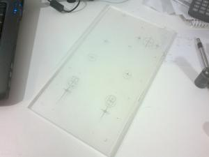 This piece of clear plastic was salvaged from an LCD monitor. It's 8mm thick. I cut it using a...