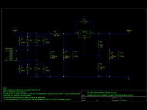 Schematic of the first version of the power supply I designed for this amplifier.