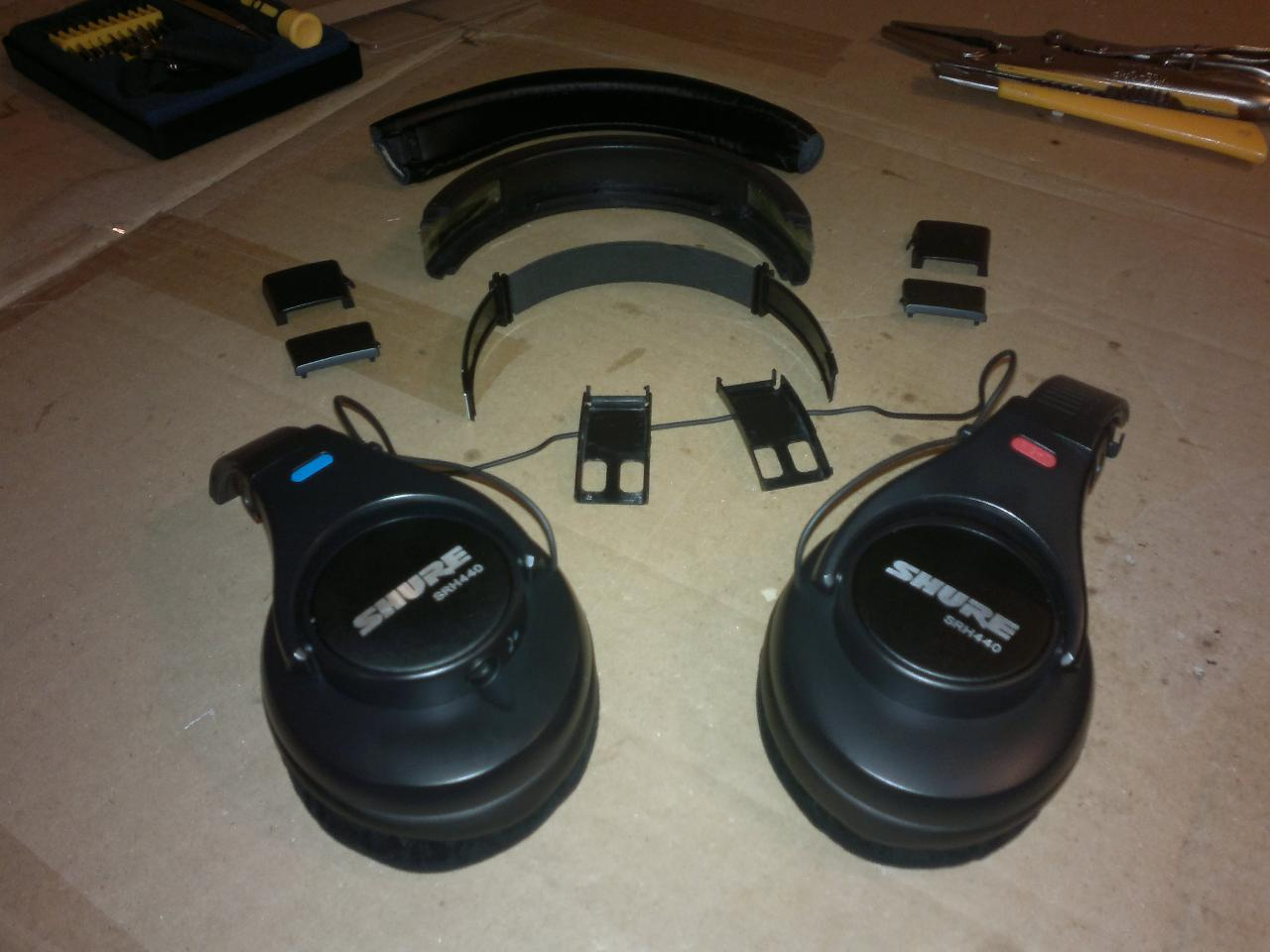 Hacking SRH440 headband, step #1. Taking everything apart. I used a sharp knife to cut one of...