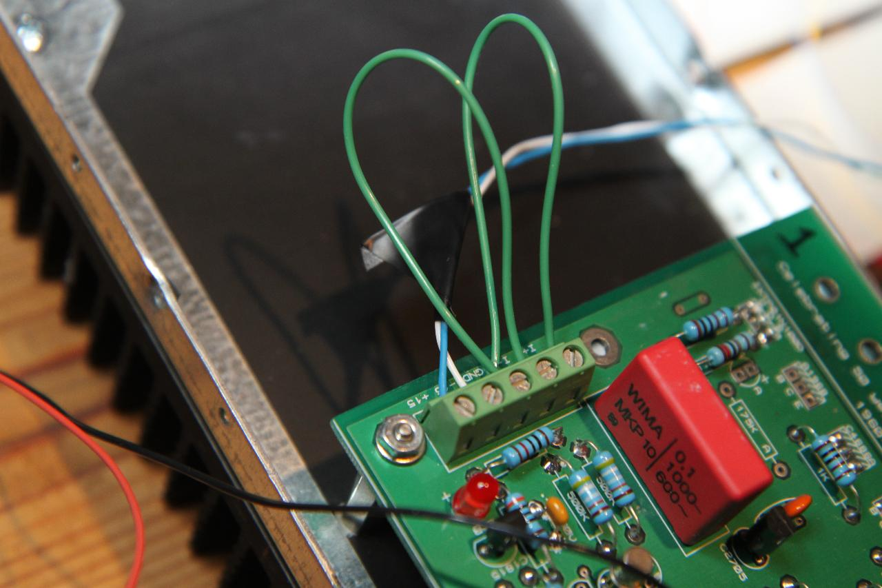 testing balance and offset without attenuator connected.<br /> 2 wires soldered together;...