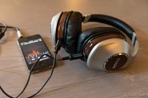 Pre-production sample Denon AH-D7100 Artisan with Apple iPhone 4S.