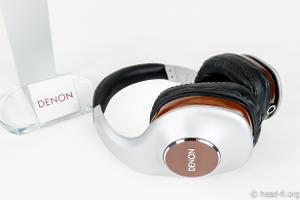 Pre-production sample Denon AH-D7100 Artisan next to the included Denon headphone stand.