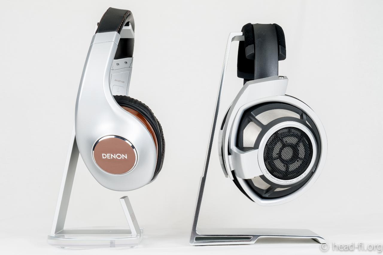Pre-production sample Denon AH-D7100 Artisan next to Sennheiser HD 800 for size comparison.